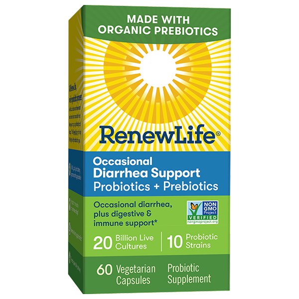 Renew Life Occasional Diarrhea Support Probiotics + Organic Prebiotics